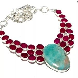 Jewelry - 925 silver Ruby and Amazonite Pendant necklace